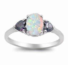 3 Stone Moon Ring 925 Sterling Silver 1.25 Ct Oval White Topaz Mystic Rainbow