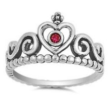Celtic Heart Wedding Engagement Crown Ring Sterling Silver Synthetic Ruby CZ