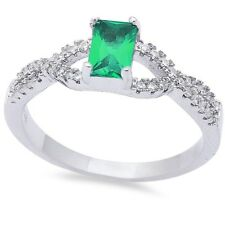 Crisscross Wedding Engagement Ring Sterling Silver 0.60CT Emerald Russian CZ
