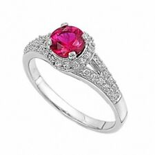 Ladies Wedding Engagement Ring 925 Sterling Silver 1.28Ct White Topaz Round Ruby