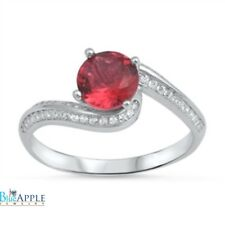 Solitaire Wedding Engagement Ring Solid 925 Sterling Silver 1.78CT Red Ruby CZ