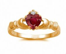 Claddagh Wedding Engagement Ring 925 Sterling Silver Ruby Rose Gold Russian CZ