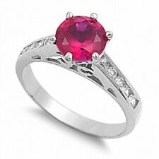 Solitaire Wedding Engagement Ring 925 Sterling Silver 2Ct Red Ruby Clear Topaz