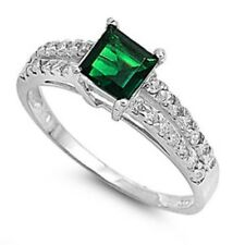 Solitaire Wedding Engagement Ring 925 Sterling Silver 1.24CT Emerald Russian CZ