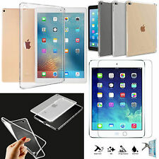 Apple iPad AIR,MINI,PRO Tempered Glass PROTECTOR + Clear TPU Gel Skin Case Cover