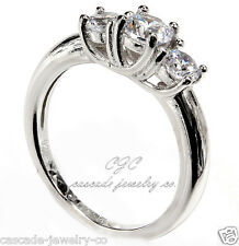 3-Stone Round Engagement / Wedding Ring SOLID Sterling Silver Cubic Zirconia CZ