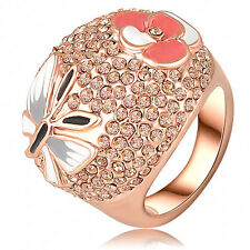 Stylish18k rose gold gp exquisite swarovski crystal luxury Butterfly ring LR0109