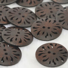20/40pcs Brown Pierced Flower Wood Buttons 30mm Sewing Craft W128