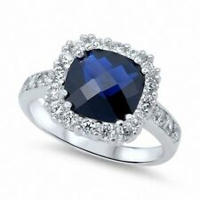 Halo Wedding Engagement Ring 925 Sterling Silver 4Carat CZ Blue Sapphire