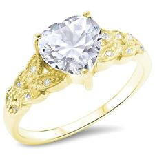 Accent Promise Ring Solid Sterling Silver1.80CT Clear CZ Yellow Gold Russian CZ