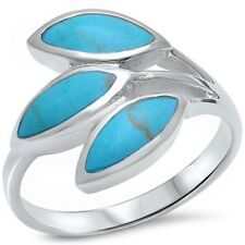 Fashion Trendy Simple Ring Solid Sterling Silver Blue Turquoise Inlay Jewelry