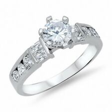 Accent Dazzling Wedding Engagement Ring 925 Sterling Silver 2.10CT Russian CZ