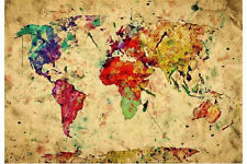World Map Antique Retro Style Silk Poster Wall Decoration Art Print 24x36inch
