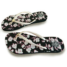 NEW Pink Flower-black sole TORY BURCH Flip Flops Flat Flop Beach Sandals Summer