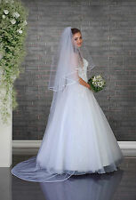 "NEW White Ivory Wedding Bridal 2 Tier Cathedral Veil 91"", Pencil Edge & Comb"