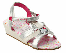 GIRLS OFFICIAL HELLO KITTY SILVER WHITE SUMMER BEACH WEDGE SANDALS UK SIZE 10-13