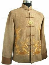 Gold Chinese Traditional Men's Kung fu jacket coat with Dragon M,L,XL,XXL,XXXL