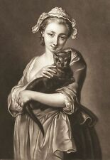 Charming LOVE ME, LOVE MY CAT. Woman holding black cat. Historic art notecards.