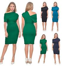 WOMENS ELEGANT CLASSY CELEB DRAPED DRESS BLOUSON KNEE MIDI PARTY EVENING DRESS