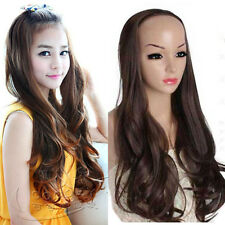 fashion lady 3/4 wig natural black brown long curly wavy hair clips in weave wig