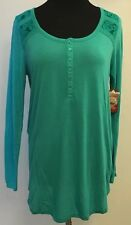 NEW Womens Faded Glory Long Sleeve Lace Henley Top Purple Aqua Blue M L XL