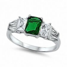 3 Stone Wedding Engagement Ring Sterling Silver 2CT Emerald Green White CZ