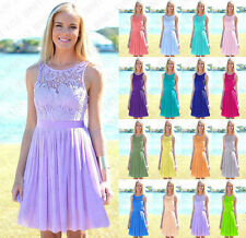 Chiffon lace knee Length Bridesmaid Dresses Evening Prom Dress Party size 6- 16