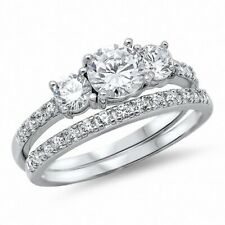Three Stone Wedding Engagement Band Ring Solid Sterling Silver 2Ct Russian CZ