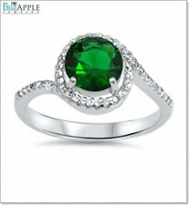 Halo Solitaire Wedding Engagement Ring Soild 925 Sterling Silver Emerald CZ