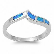 Wedding Engagement Anniversary Band Ring Sterling Silver Blue Australian Opal