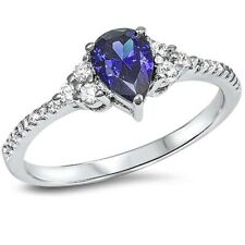 Trendy Wedding Engagement Ring 925 Sterling Silver 0.75Ct Tanzanite Russian CZ