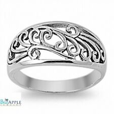 10mm Plain Simple Modern Filigree Celtic Band Ring 925 Sterling Silver