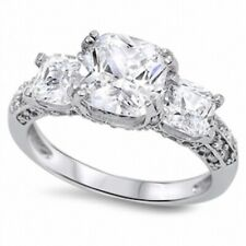 3 Stone Wedding Engagement Anniversary Ring 925 Sterling Silver 2Ct Russian CZ