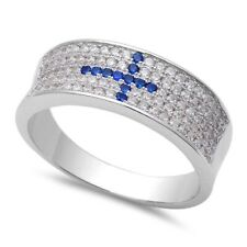 Sideways Unisex Cross Wedding Engagement Ring Sterling Silver Sapphire Clear CZ