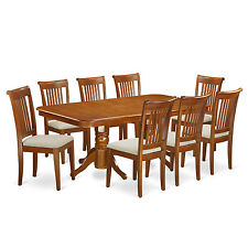 9 Piece dining room table set Table with a Leaf and 8 chairs for dining