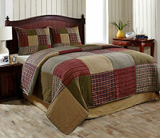 Primitive Country Rustic Bryan Block Plaid Queen or King Quilt Set with 2 Shams