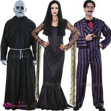 Adult The Addams Family Fancy Dress 1960s 60s TV Halloween Gothic Costume Outfit