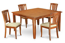 5 Piece dining room table set-Square table with a Leaf and 4 dining chairs