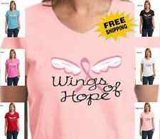 Breast Cancer Awareness Wings Of Hope Pink Ribbon Womens Cotton V Neck t-shirt