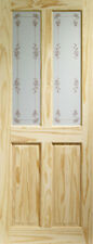 GLAZED VICTORIAN KNOTTY PINE DOOR WITH BLUEBELL GLASS