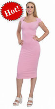 PINK WOMENS VINTAGE BODYCON SLIM FIT SWEETHEART NECK CAP SLEEVE MIDI DRESSES