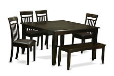 6 PC dining table set with bench-Dinette table with Leaf and 4 dining chairs Plu