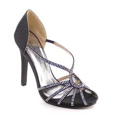 Women Closed Back Criss Cross Straps Slip On Glitter Heels BLACK