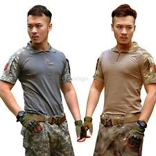 Mens Army Camo T-Shirt Camo Military Tactical Combat Short Sleeve T Shirts S-2XL
