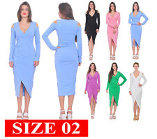 WOMENS COLD SHOULDER LONG SLEEVE DRAPED BODYCON CELEB DRESS COCKTAIL SIZE 2 - S