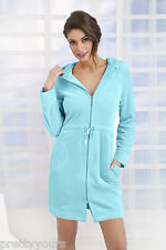 New Womens Cotton Dress Style Bath Robe Housecoat Dressing Gown Zip Up with Hood