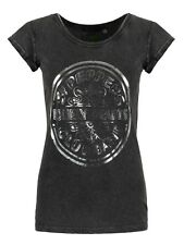The Beatles Sgt Peppers Drum Acid Wash Women's Black T-shirt