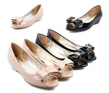 2 Color Bowknot Ladies Open Toe Faux Leather Wedges Heels Womens Sandals Shoes