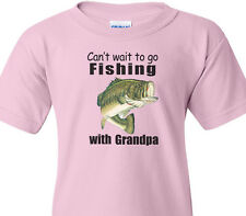 "BASS FISHING Kids Pink Tee ""CAN'T WAIT TO GO FISHING WITH GRANDPA"" Kids T-Shirt"