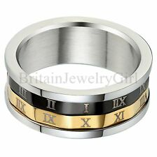 8mm Stainless Steel Mens Ring Roman Numerals Wedding Promise Anniversary Band